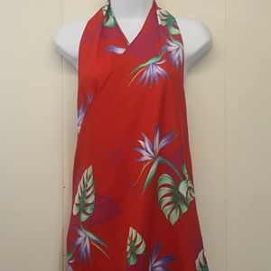 Hilo Hattie Wrap Dress Skirt Cover Up Red Floral